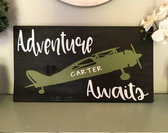 Adventure Awaits Airplane Customized Wood Sign