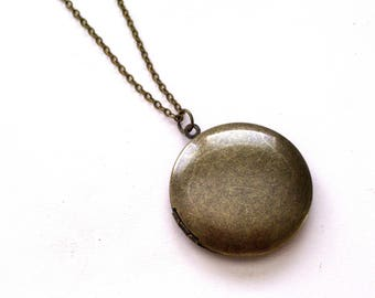 Locket necklace etsy antiqued brass locket rustic locket necklace fathers day gift unisex locket dark aloadofball Image collections