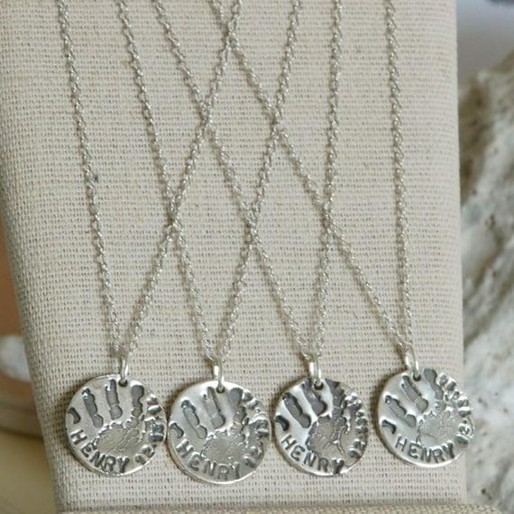 Fingerprint Jewelry - Baby Handprint, Child Handprint Charm Necklace