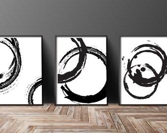 Instant Download Printable Art, Wall Art Prints, Black and White Prints, Circles, Modern Art, Black and White Art, Wall Prints, Wall Decor