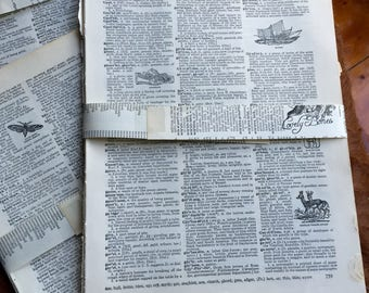 20 x VINTAGE DICTIONARY Pages for scrapbooking, collage, art crafting, word lover, origami, upcycling, repurpose