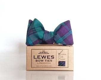 Self tie cotton tartan bow tie, brushed cotton blue and green tartan bow tie, winter wedding bow tie, Christmas bow ties for him
