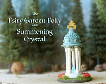 The Fairy Garden Folly with Summoning Crystal - Miniature Handcrafted Temple with Pillars, Aged Copper Patina Roof, Flower Beds and Finial
