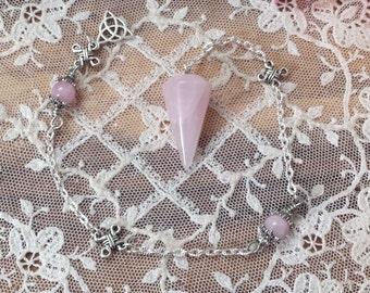 Rose Quartz Crystal Pendulum, Celtic Pendulum, Dowsing