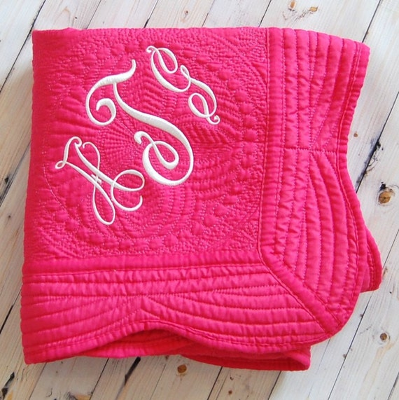 Hot pink baby quilt personalized baby blanket baby girl like this item negle Image collections