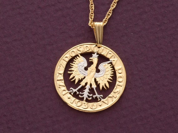 Polish eagle pendant and necklace poland two zlotch coin hand aloadofball Choice Image