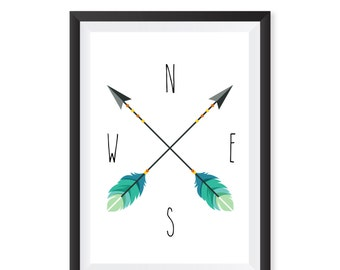 Nursery print, Nautical Decor Arrow Compass Wall Art Print, Arrow Print Tribal Scandinavian, Minimalist, Nursery Art, Home Decor, Teal, Baby