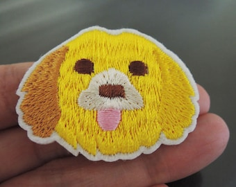 Iron On Patch - Little Cute Dog Patches Animal patch Small Yellow Doggie Applique embroidered patch Sew On Patch