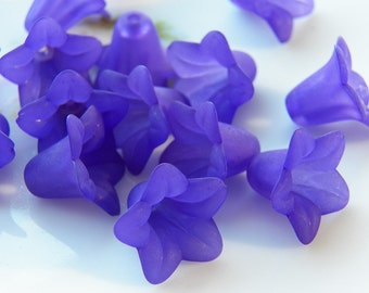 18mm Frosted Indigo Acrylic Trumpet Flower Beads, 10 PC (INDOC9)