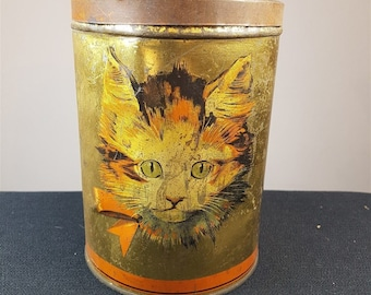 Antique Cat Tin Storage Box Lithograph Tin Metal Early 1900's