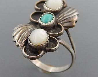 Vintage Navajo sterling silver mother of pearl turquoise swirls wide ring size 7