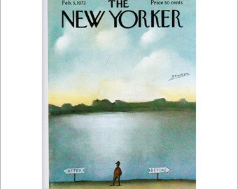 Vintage The New Yorker Magazine Cover Poster Print, 1972 Matted to 11 x 14 , Item 4013, Blue Art Before, After