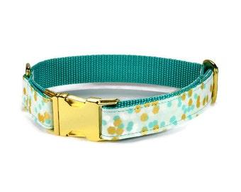Mint Confetti Glitz Dog Collar, Mint Dog Collar, Mint And Gold Dog Collar, Gold Hardware, Gold Metallic , Wedding Dog Collar