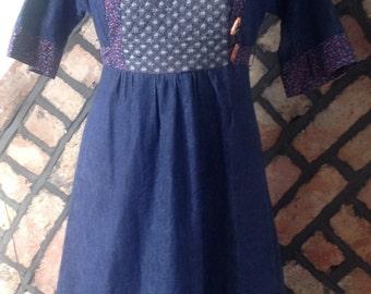 Denim Tunic Dress, boho hippy hipster size 12-14 (uk) 1970s