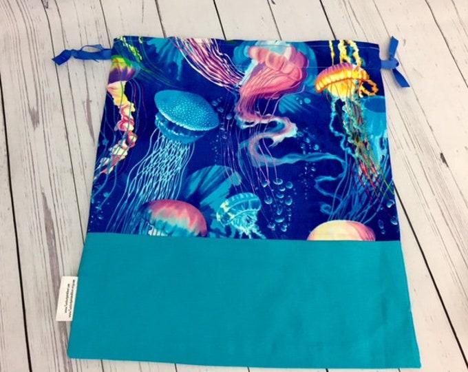 Jellyfish, Jelly Fish,  Crochet Project Bag, Yarn Bag, Fiber Project Bag, Sock knitting bag, Shawl project bag