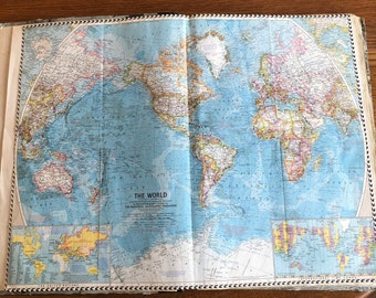 Vintage push pin world maps etsy vintage 1960 national geographic map the world gumiabroncs Gallery