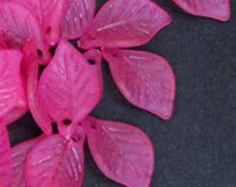 20pc - 19mm Frosted MATTE Fuchsia Pink Leaf Accent Dangle Charm Pendant Beads
