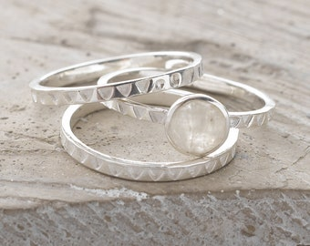 Handmade, Sterling Silver 925 Moonstone and Handstamped Stacking Rings (Set of 3)