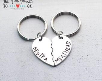 Sestra / Meathead Couples Keychain Set | Clone Club | Orphan Black | Fandom Jewelry | Geekery | Science Fiction Jewelry | Couples Keychain