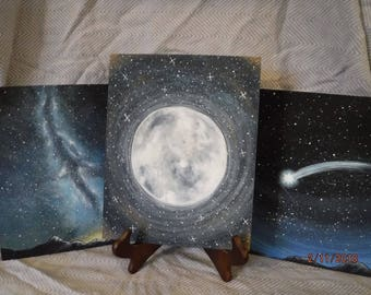 SPECIAL*BUNDLE*Space-Themed Acrylic Canvas Paintings Moon Shooting Star and Milky Way for Nursery, Child's Room or Space Enthusiast