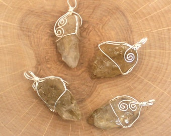 Chunky Citrine Wire Wrapped Pendant