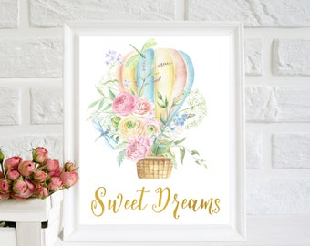 Sweet Dreams printable, Nursery Printable Art, Baby Nursery Decor, Hot air balloon print, printable Quote, nursery wall art, baby room quote