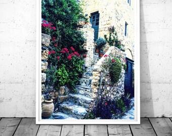 Blue Doors Print, Door photography, Greece Print, bougainvilleas Wall art, Monemvasia Art, Mediterranean Decor, Digital  download