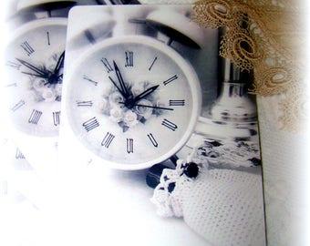 Set of 10 postcards, vintage looking clock, alarm clock, vintage back, great gift