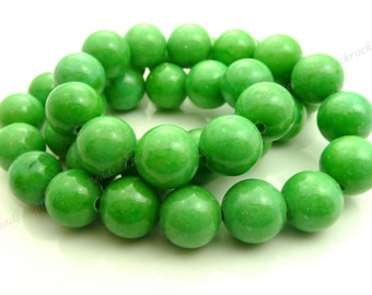 10mm Apple Green Mashan Jade Round Gemstone Beads - 16 Inch Strand - BG9