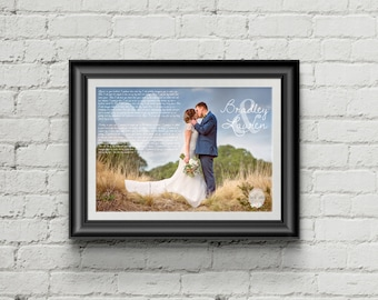 Anniversary Gift for Husband, anniversary gift for wife, wedding vows poster, paper anniversary gift, 10th anniversary gift