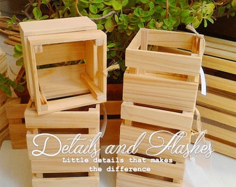 TWELVE wooden crates for centerpiece, wooden boxes, rustic wedding flower box wood crate- table centerpieces and decoration flower Planter