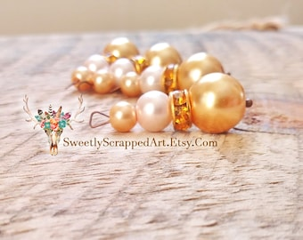 Gold Beaded Charms. Pearl Charms. Scrapbooking. Jewelry Making. DIY Jewelry Supplies. Beaded Embellishments. Gold Pearl. Cardmaking. Crafts