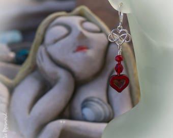 Celtic Love Knot Heart Sterling Silver Leverback Earrings