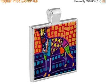 SALE ENDING- Greyhounds  Necklace Dog Folk Art Jewelry - Pendant Metal  Gift Art Heather Galler Gift-  Dog Lovers Abstract Modern Vegan Gi