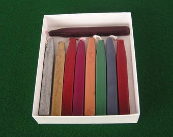 Vintage Sealing Wax Sticks with Wicks; Nine (9) Beautiful Colors to Use w Stamp Seal for Birthday Party Invitations, or Any Special Occasion