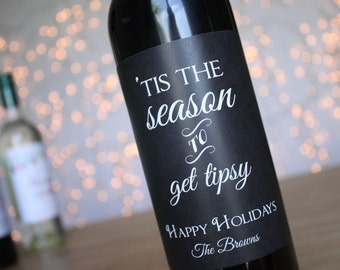 Tis the Season to Get Tipsy Wine Labels Holiday Wine Labels Christmas Wine Labels Chalkboard Wine Labels Wine Gift Funny Wine Label coworker