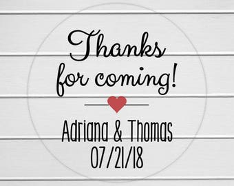Thanks For Coming Stickers, Clear Transparent Thank You Favor Stickers, Birthday Party Stickers (#211-C)