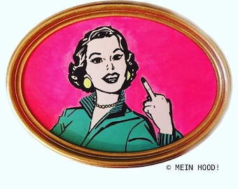 Wandbild FUCK OFF, fuck you, girl power, be wild free weird, pin up girl pinup, Pop Art, Illustration Kunst, grl pwr, nope not you your's