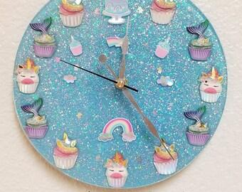 Unicorns & Mermaids Clock