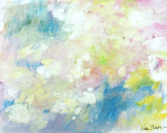 """Abstract Expressionist Painting on Paper, Light Colors, Intuitive """"Spring Clouds"""" 18x24"""""""