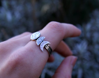 Sterling silver moon phase stacking rings set, mix & match customised stackable moon rings