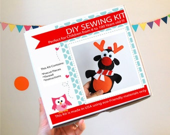 Christmas Reindeer Sewing Kit, Felt Kids' Crafts, Felt Sewing Kit in a Box, 8+ years old craft, No need sewing machine, A823