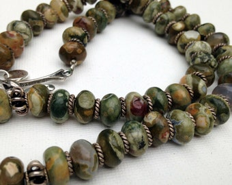 Rhyolite and silver rondelles necklace
