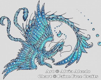 Water Dragon  - emailed PDF cross-stitch chart / pattern, original art © Alvia Alcedo  licenced by Paine Free Crafts