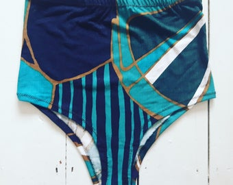 Repurposed vintage 90s fabric bikini bottoms high waisted festival outfit