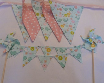 Two Piece Set - Sweet Birdie Baby Shower 5 Bunting Flags - Plus Cake Topper - READY TO GO