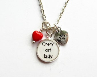 Crazy Cat Lady Charm Necklace, Cat Necklace, Cluster Necklace, Cat Lover Gift, Cat Mom, Womens Necklace