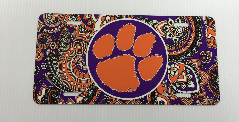 car tag Clemson paisley license plate Clemson tigers