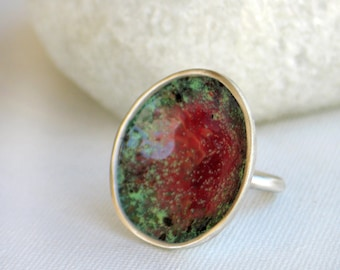 Enamel Ring in Red and Green tint  on sterling silver