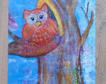 A3 Poster Nursery Owl on tree